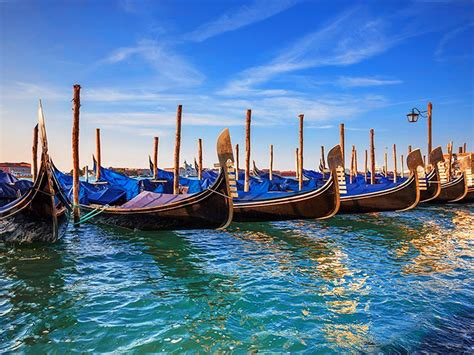 gondola boat ride chicago venice sea with turquoise colored beautiful boats gondola