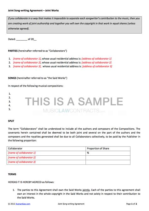 joint songwriting contract template