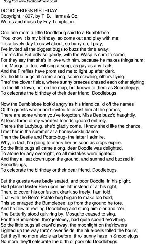 doodle bug lyrics time song lyrics for 57 doodlebugs birthday