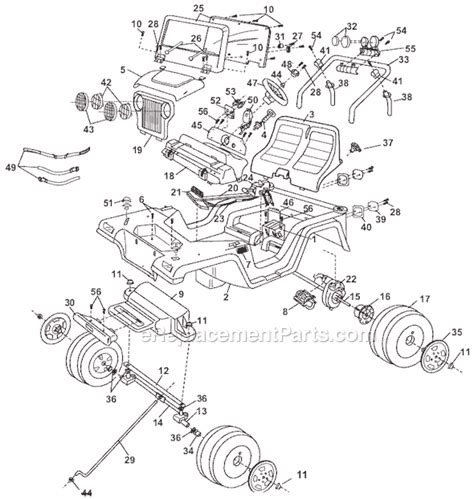 Jeep Parts List Power Wheels 78490 9993 Parts List And Diagram Before 03