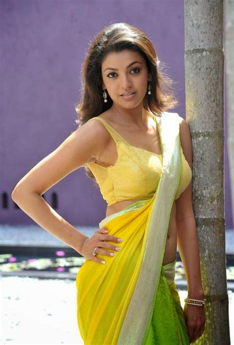 actress kajal in bad dress in saree breast kajal agarwal sizzling in saree world cinema