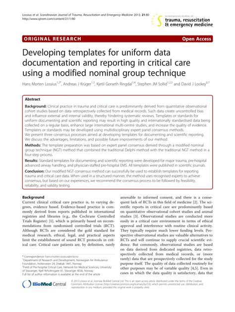 Developing Templates For Uniform Data Pdf Download Available Critical Care Documentation Template