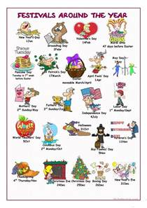 festivals around the year picture dictionary worksheet