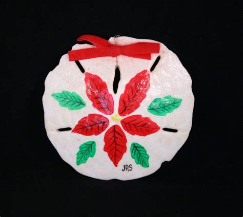 natural shell sand dollar hand painted poinsettia