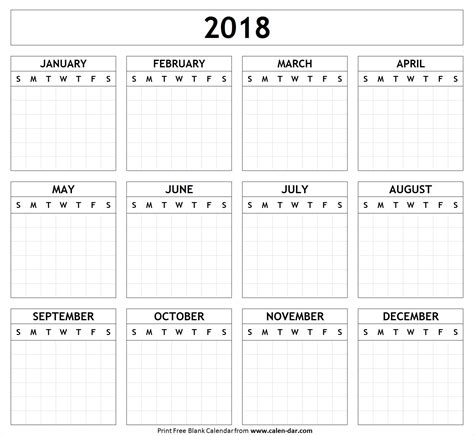 Printable Yearly Calendar 2018 Free Blank Calendar Template 2018 Blank Calendar 2018 2018 Yearly Yearly Planner Template 2018
