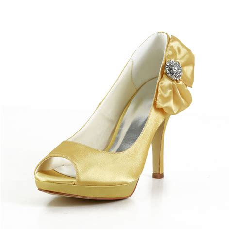 beautiful gold shoes satin peep toe prom shoes with
