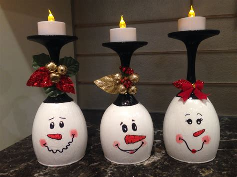 diy wine glass snowman tea light candle holder crafty