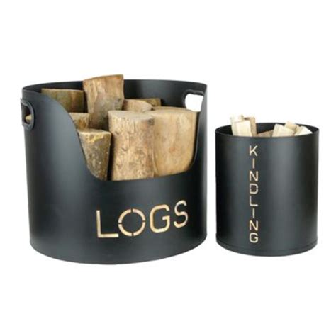 modern log and kindling holder tubs black uk