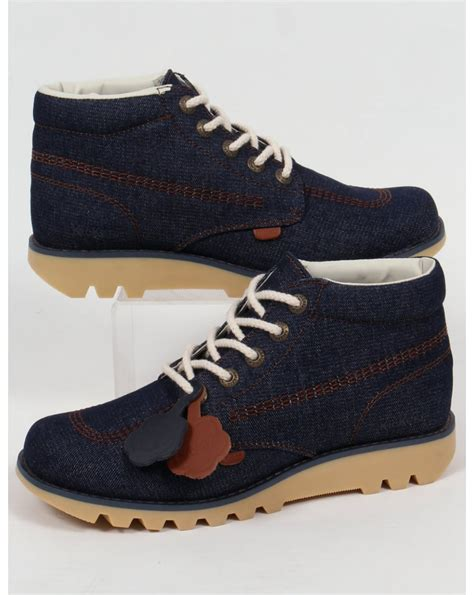 kickers kick hi denim boots blue 40th anniversary retro