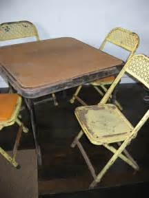 1950 s metal folding chairs and table child s by
