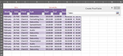 how to make timesheets in excel how to create a pivot table for a timesheet outofhoursadmin