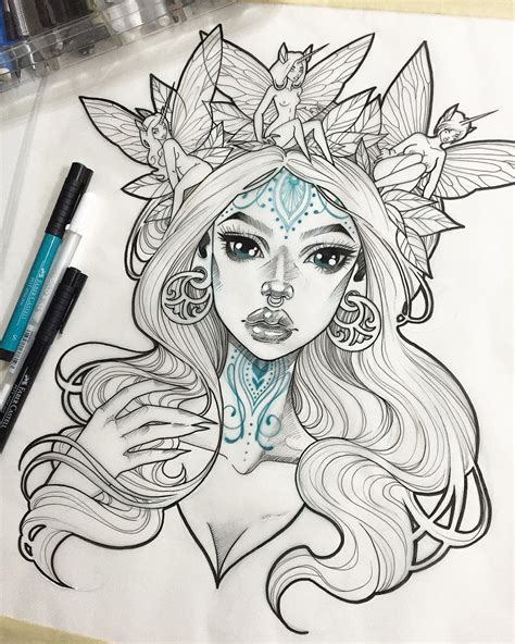 tattoo sketches instagram i m tempted to keep adding tattoos to her but since i