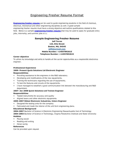 Sle Resume Format For Freshers Engineers Principal Electrical Engineer Cover Letter Company Cover Letter Sle Gis Officer Sle Resume