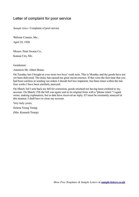 the layout of a letter of complaint complaint letter sle poor service internet compudocs us