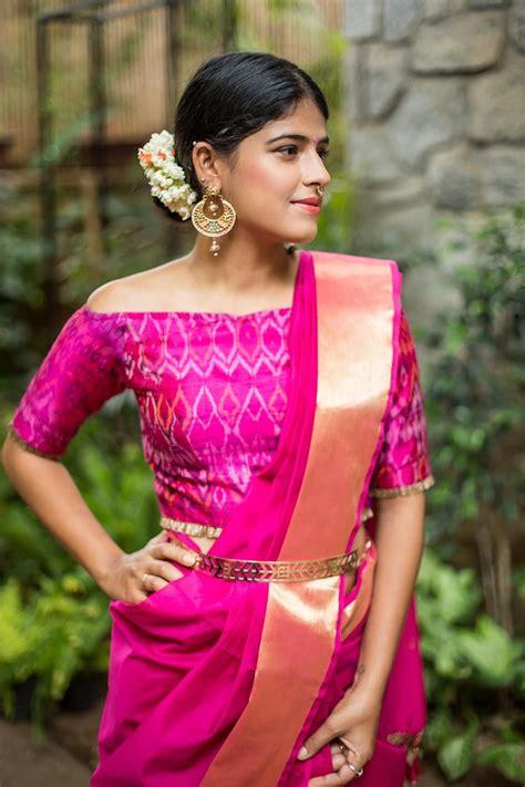 Sari And Gold shoulder sari blouse silk sari and a gold belt