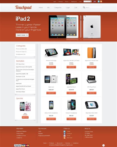 Os04a01402 Mobile Shop Oscommerce Shopping Cart Template One Page Shopping Cart Template