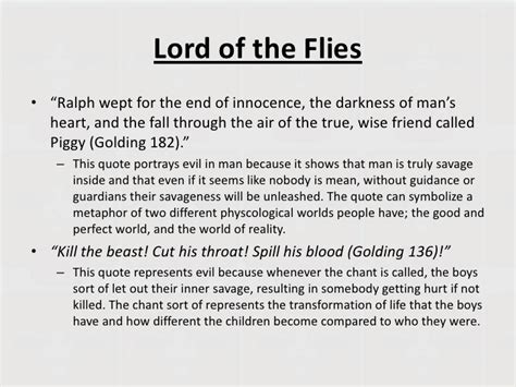 themes of lord of the flies with quotes lord of the flies theme man vs nature nature of man