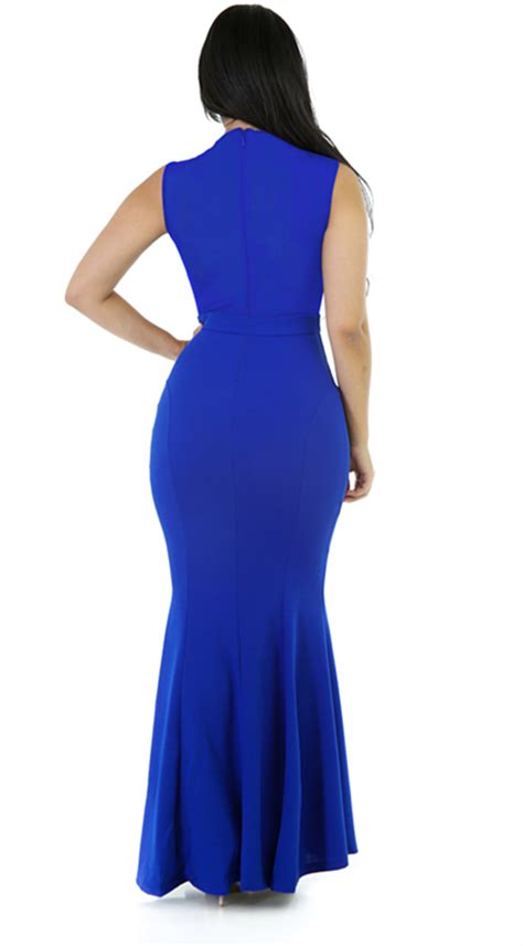 Dress Trendy Dress White Sl Dress Wanita Spandex Putih sleeveless rhinestone mesh maxi bodycon dress blue