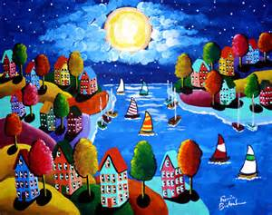 Colorfu Houses Painting night sail colorful houses sailboats full by reniebritenbucher