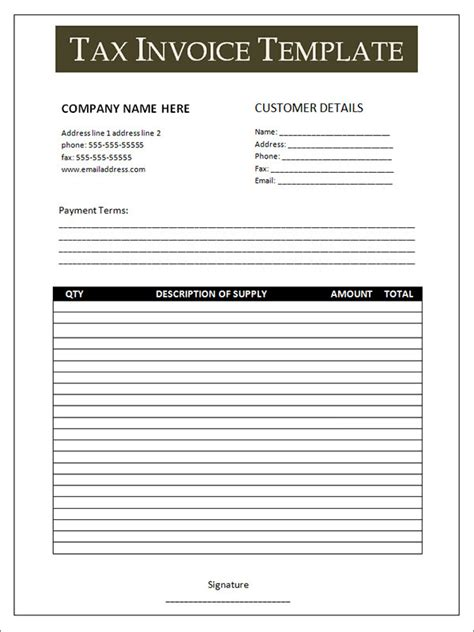 template tax invoice 10 tax invoice templates free documents in