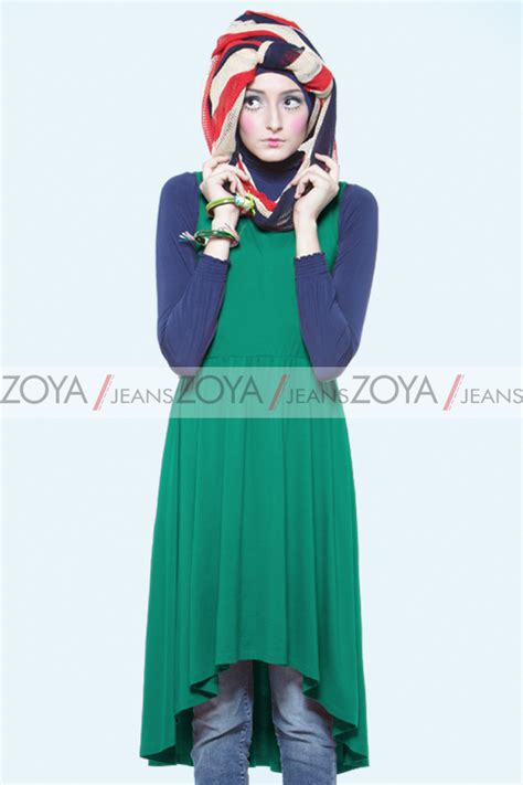 Baju Muslim Di Zoya flare emerald