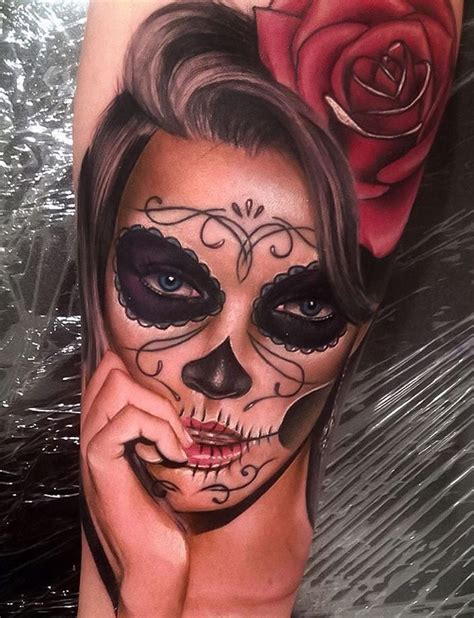 day of the dead tattoo day of the dead portrait realism best