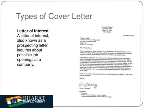 different types of cover letters bharat employment cover letter