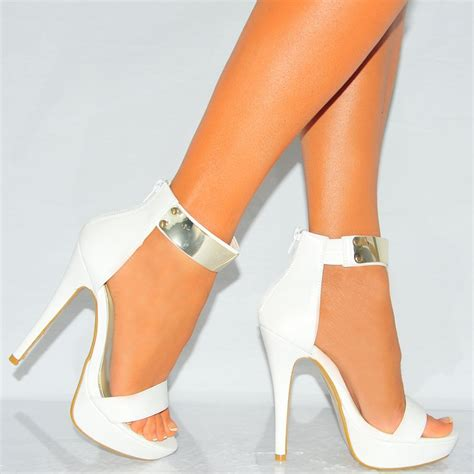 all white high heels white pu leather gold metal ankle cuff high heel