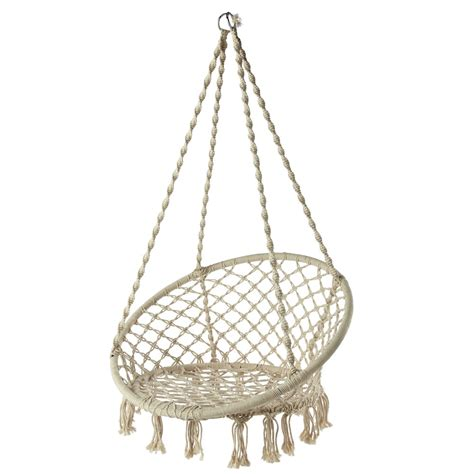 hanging armchair gabriela rope hanging garden armchair in white maisons