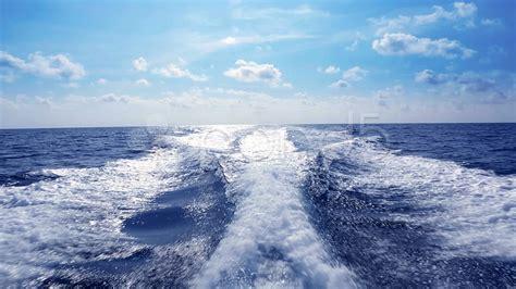 boat wake blue ocean sea with fast yacht boat wake foam video
