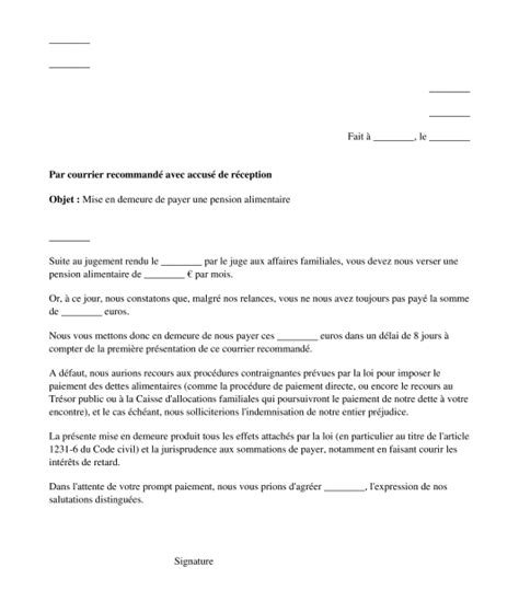Modèle De Lettre De Mise En Demeure Loyer Impayé Modele Mise En Demeure Word Document