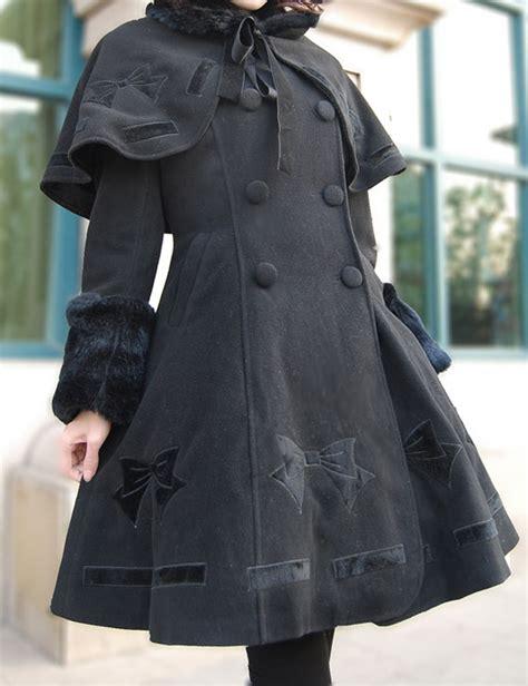 pattern cloak of the black void lolita cloak coat black mint collar bownot pattern flannel