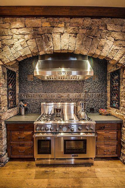 kitchen rock stove surround rustic home decor mountain lake cy homes stove