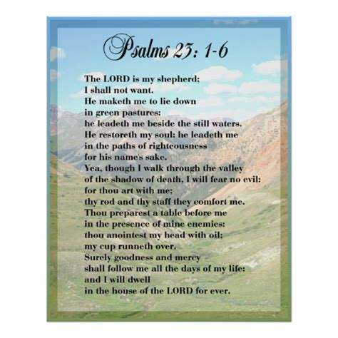 printable version of psalm 23 psalm 23 framable poster print