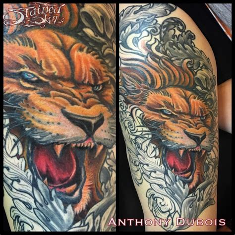 color lion tattoo anthonydubois filigree color