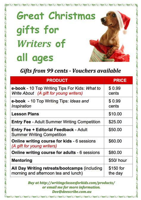 christmas gifts for writers writingclassesforkids com