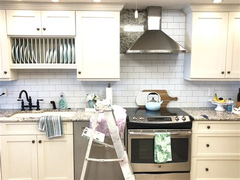 diy subway tile wallpaper backsplash styled with lace