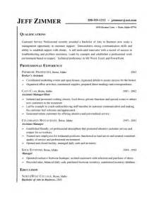 Resume Exles For A Customer Service Customer Service Resume Exle Business Assistant Host