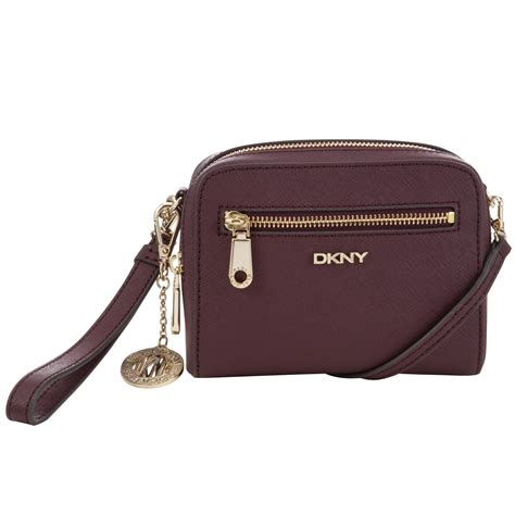 Clucth Handbag Safiano dkny saffiano leather clutch bag in purple gold lyst
