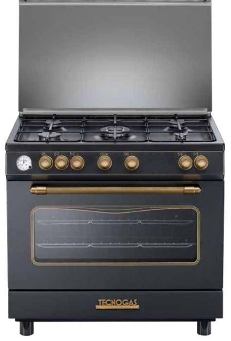Oven Tecnogas gas cooker 80x50 cm black 5 burners maxi gas oven