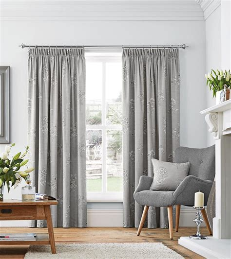 Two Colour Curtains Decorating Flora Ready Made Lined Curtains In Dove Free Uk Delivery Terrys Fabrics