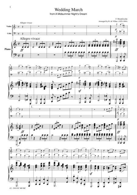 Wedding March Piano by Mendelssohn Wedding March For Piano Trio Pm101