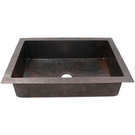 33 quot plain hammered copper drop in single well kitchen sink