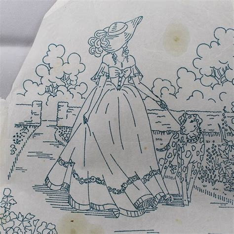 embroidery design transfer crinoline lady garden vintage iron on embroidery