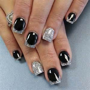 black and glitter pretty nail art