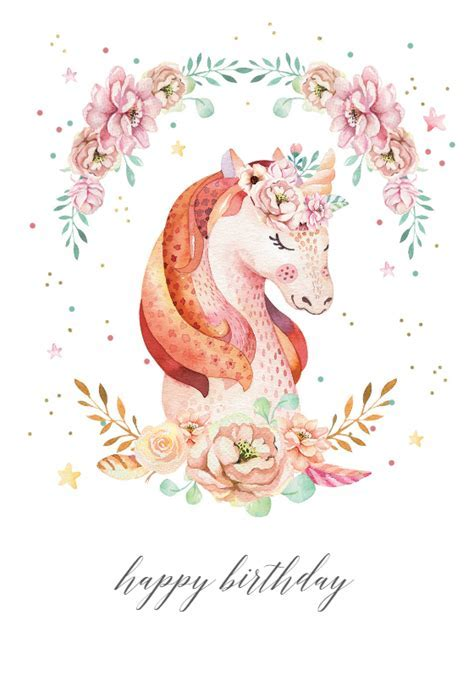 Floral wreath unicorn   Birthday Card (free)   Greetings