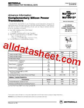 transistor mj15023 datasheet mj15012 datasheet pdf motorola inc
