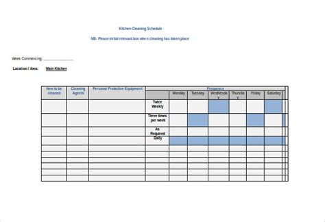 commercial kitchen cleaning schedule template kitchen cleaning schedule template 3 free word pdf