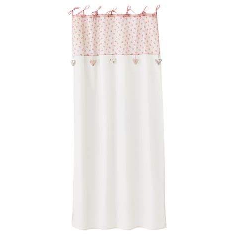 Inez Top Pink by Ines Pink White Cotton Tie Top Curtain 105 X 250 Cm