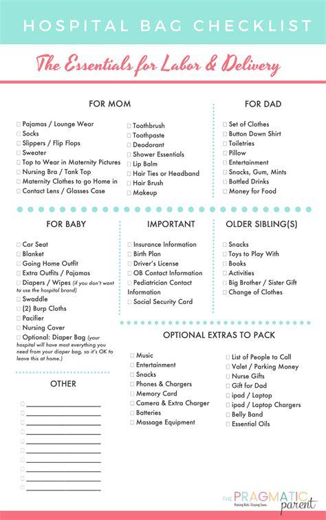Hospital Bag Checklist Printable